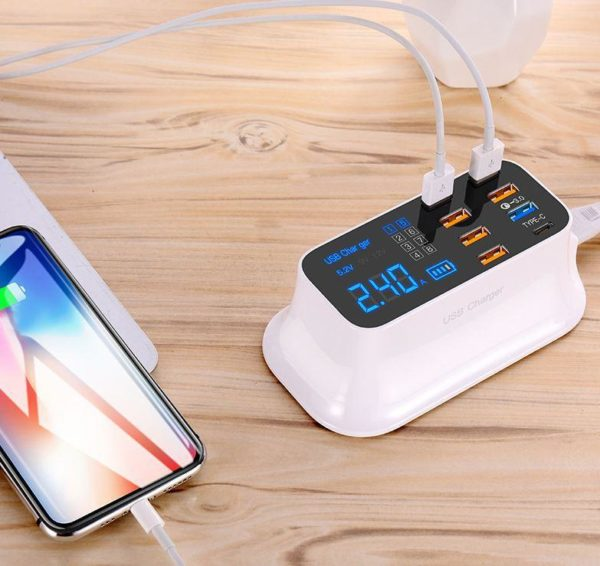 phone6 Chargeur Rapide Usb 8 Ports 3.0 Affichage Lcd