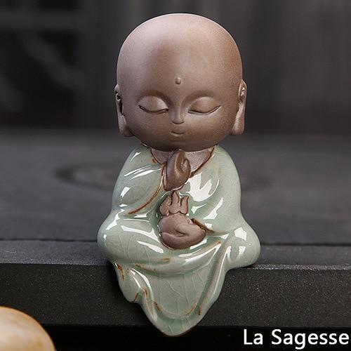 pour mon 3 Petite Statue Bouddha En Céramique