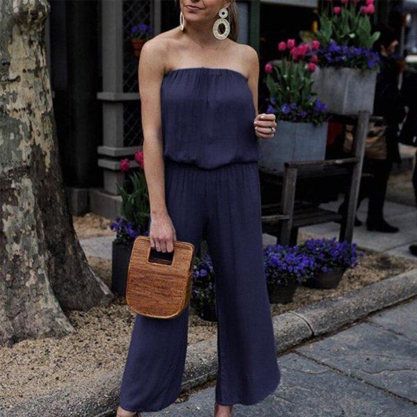 Combinaison pantalon bustier Minute Mode Bleu marine L