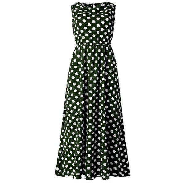 Maxi robe à pois Minute Mode Vert L
