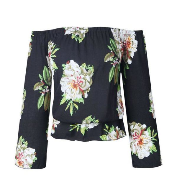 Blouse florale manches amples Minute Mode Noir XXXL