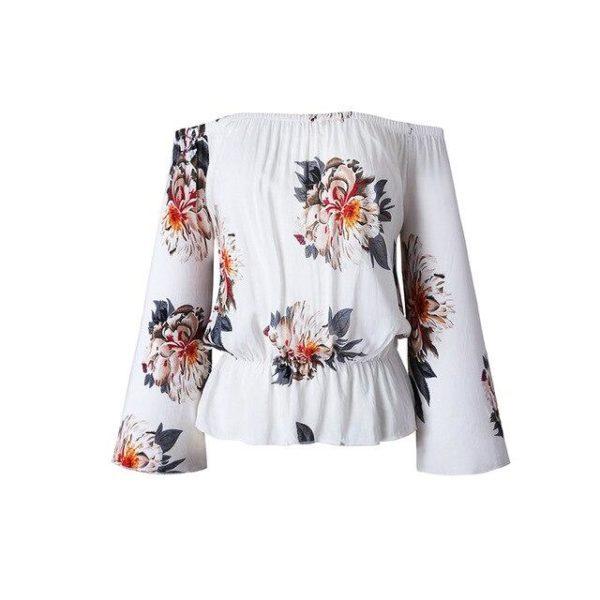 Blouse florale manches amples Minute Mode Blanc XXXL