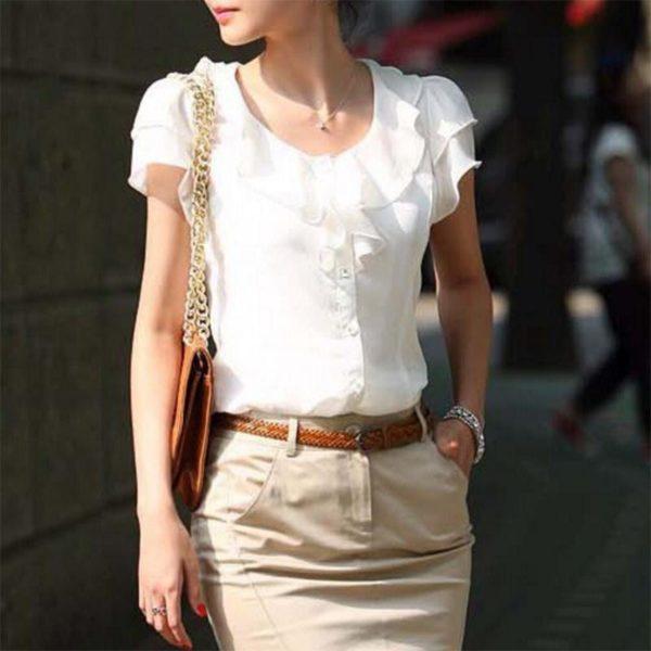Blouse Chic Féminine Minute Mode Blanc L