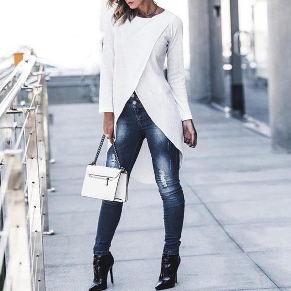 Blouse Longue Asymétrique Minute Mode Blanc S