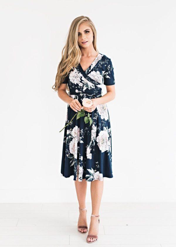 Robe Florale Bohémienne Site Vêtements Bleu Marine S