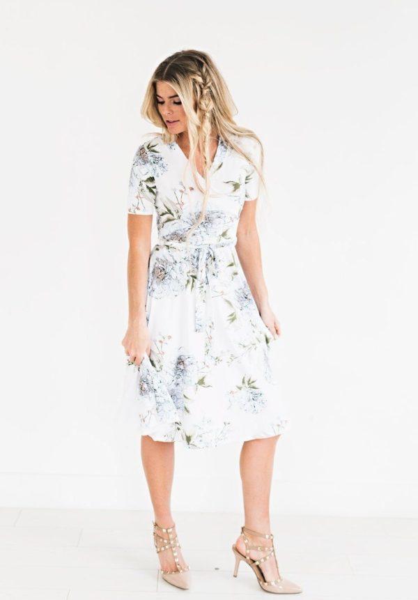 Robe Florale Bohémienne Site Vêtements Blanc S