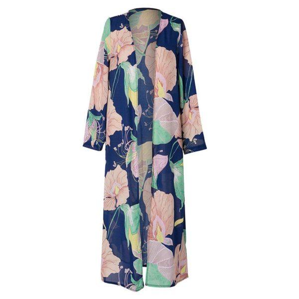 Kimono à Motif Floral Minute Mode Bleu S
