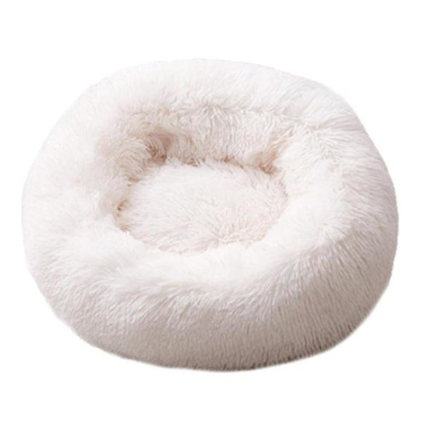 Lit En Peluche Doux Et Moelleux - Pour Chat Et Chien Raton Malin Blanc M - 60 cm