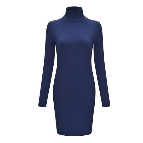 Robe Pull Col Roulé Minute Mode Bleu S