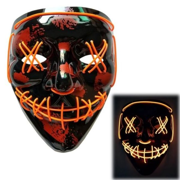 "Masque Luminescent ""The Purge"" Halloween Raton Malin Orange"
