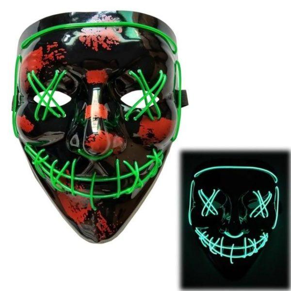 "Masque Luminescent ""The Purge"" Halloween Raton Malin Vert"