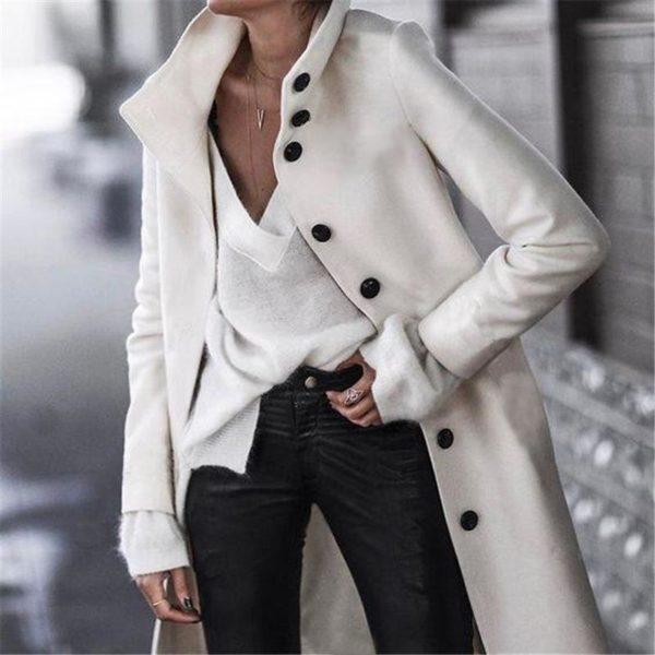 Veste Casual Boutonnée Minute Mode Blanc S