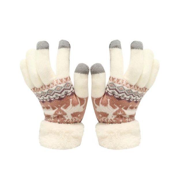 Gants Tactiles En Molleton Thermique Raton Malin Blanc