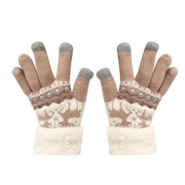 Gants Tactiles En Molleton Thermique Raton Malin Marron