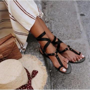 Sandales Vintage à Boucle Minute Mode Noir 42