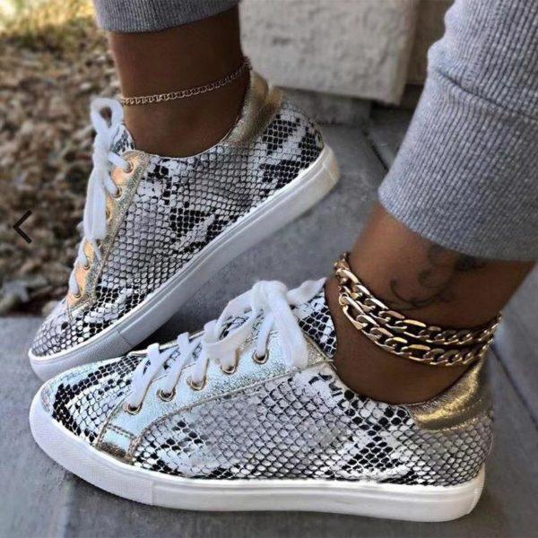 Chaussures Snake Minute Mode Blanc et Noir 41