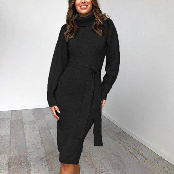 Robe longue col roulé Minute Mode Noir XL