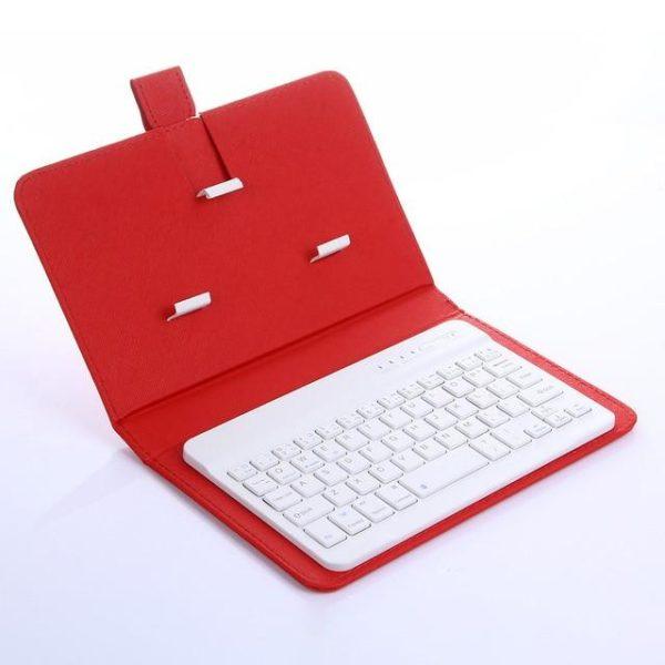Clavier Sans Fil Bluetooth Avec Housse De Protection Raton Malin Rouge