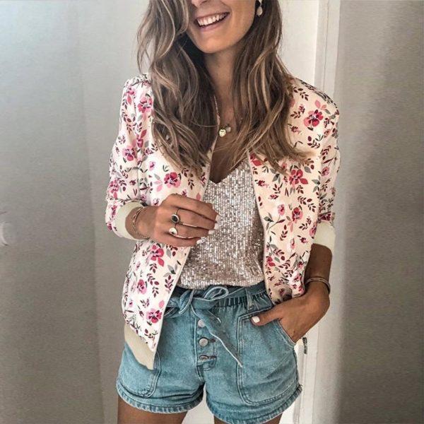 Veste vintage à fleurs Minute Mode Rose XL