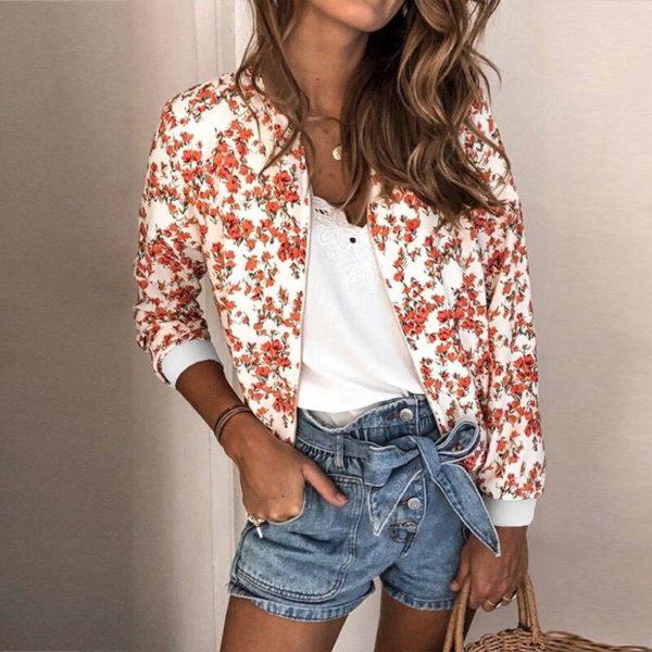 Veste vintage à fleurs Minute Mode Blanc à fleurs M