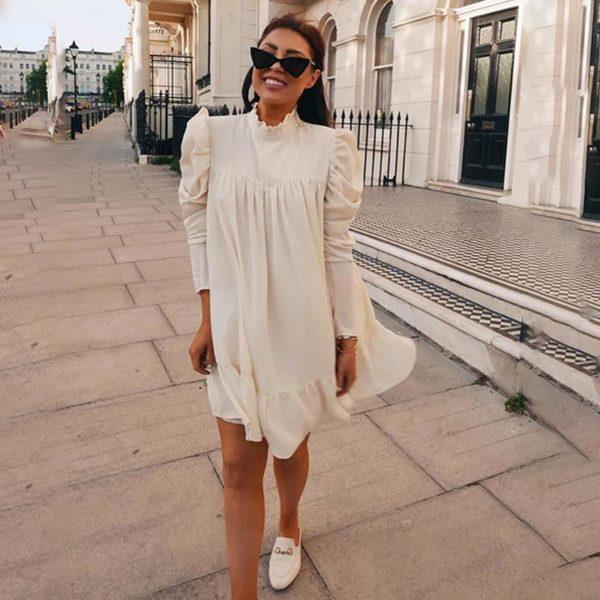 Élégante Robe Vintage Minute Mode Blanc S