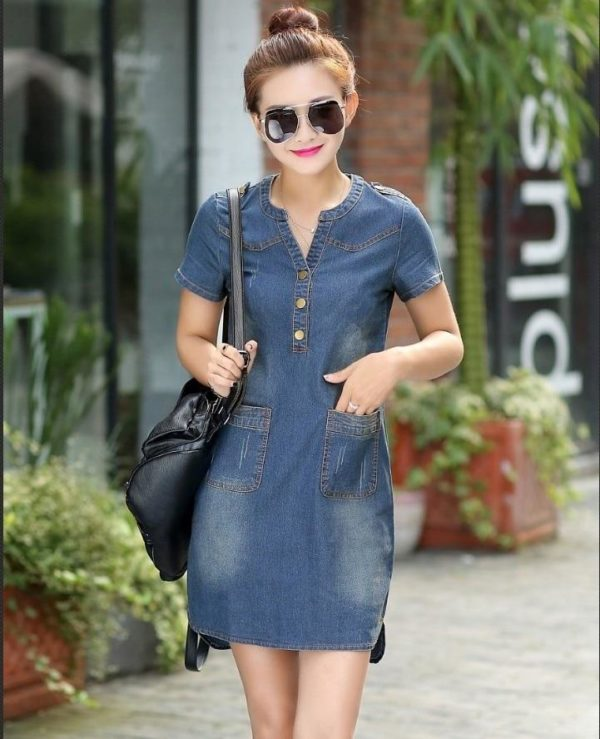 product image 1283015845 Robe Denim Manches Courtes