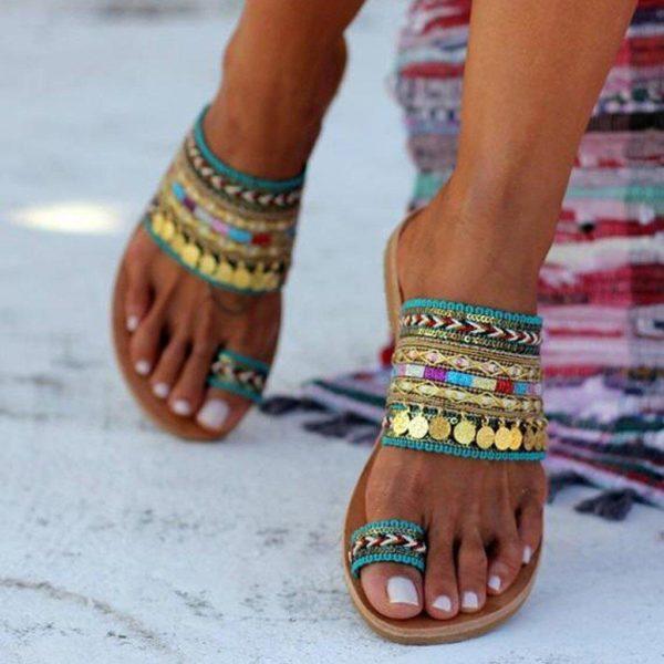Sandales Ethniques Minute Mode Vert 35