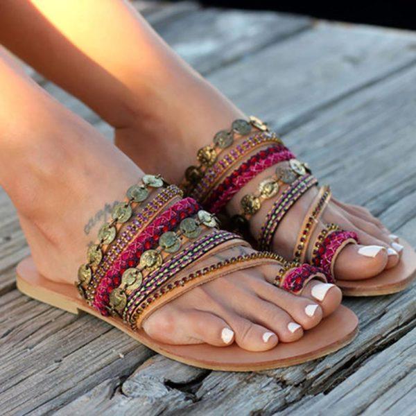 Sandales Ethniques Minute Mode Rouge 35