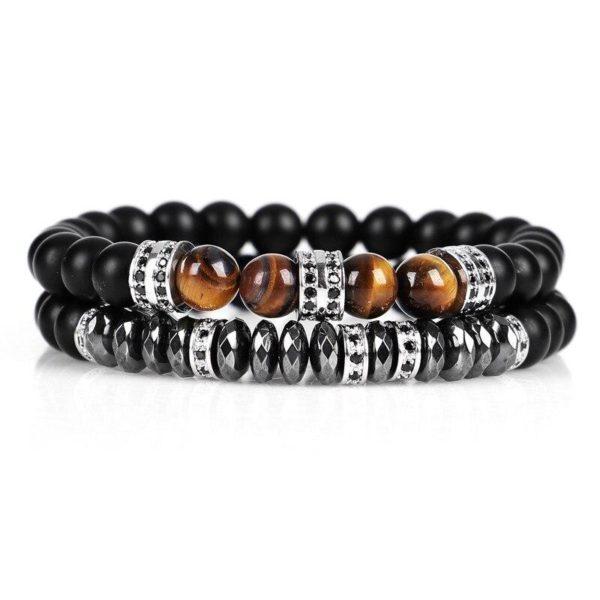 product image 1295422921 Bracelet En Œil De Tigre Et Hématite - Un Ensemble De 2 Bracelets