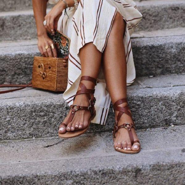 Sandales Vintage à Boucle Minute Mode Marron 34