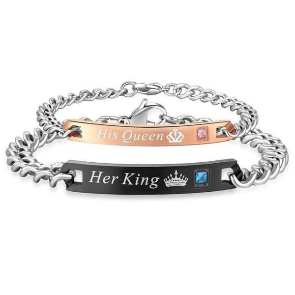 """Duo de Bracelets Amoureux """"Son Roi, Sa Reine"""" Raton Malin"""