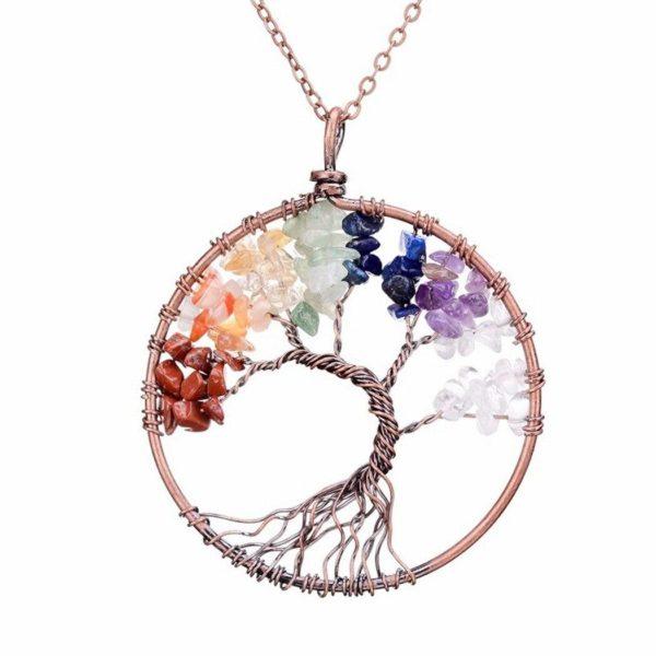 product image 1312995142 Collier D'arbre De Vie En Pierre De Cristal Sept Chakras