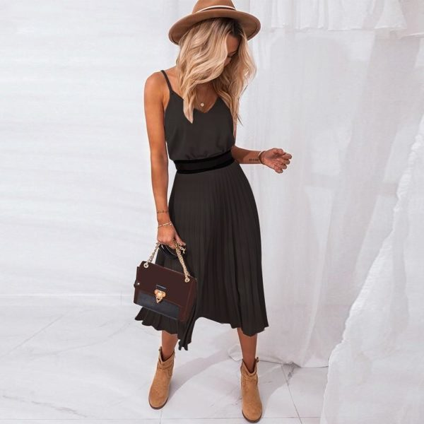 Robe Plissée Col V Minute Mode Noir XL