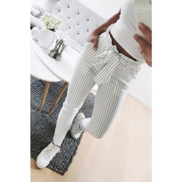 Pantalon tendance avec cordon Minute Mode Blanc ligné S