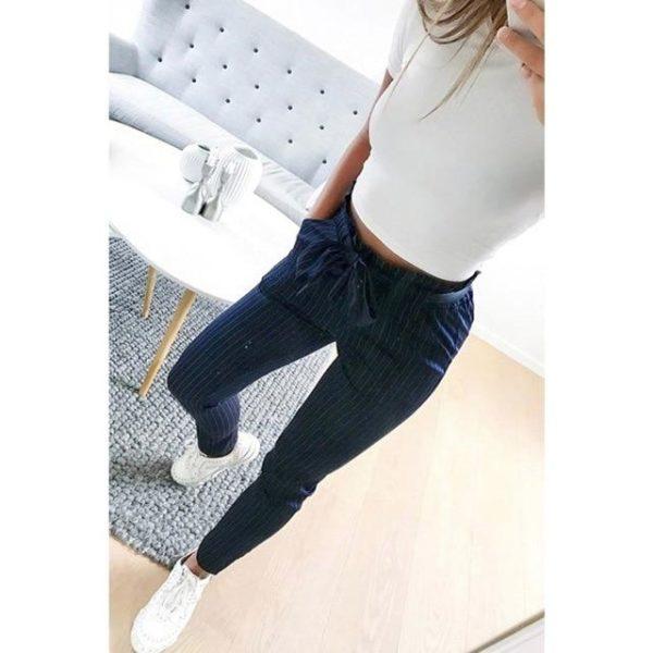 Pantalon tendance avec cordon Minute Mode Bleu ligné S