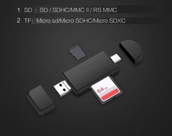 product image 1357503988 Lecteur De Carte 3-En-1 Micro Usb - Usb - Type C Pour Android