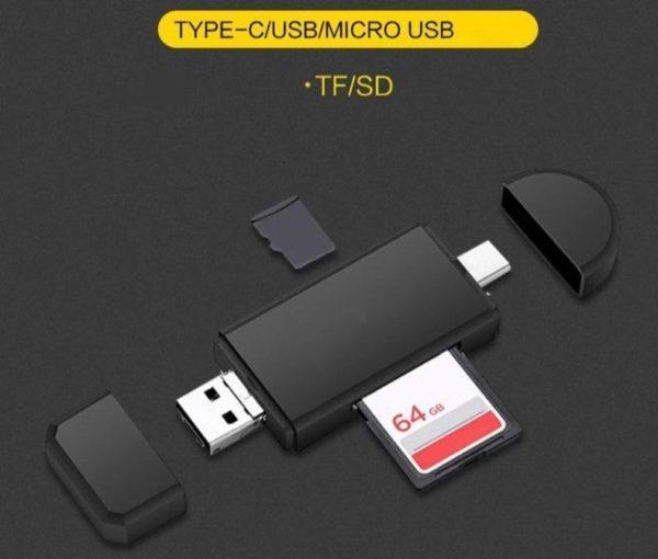 product image 1357503989 Lecteur De Carte 3-En-1 Micro Usb - Usb - Type C Pour Android
