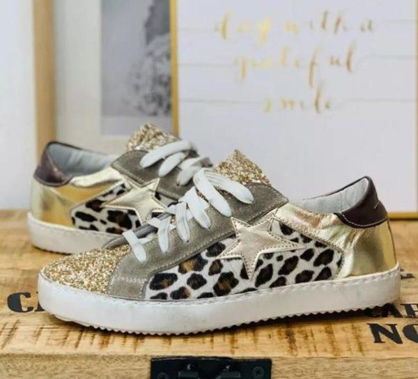 Chaussures vintage à paillettes Minute Mode Doré 43
