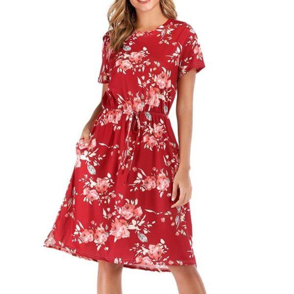 Robe Florale à Manches Courtes Minute Mode Rouge M