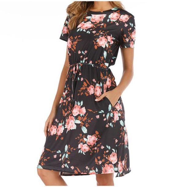 Robe Florale à Manches Courtes Minute Mode Noir S
