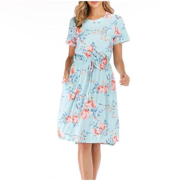 Robe Florale à Manches Courtes Minute Mode Bleu Ciel XL