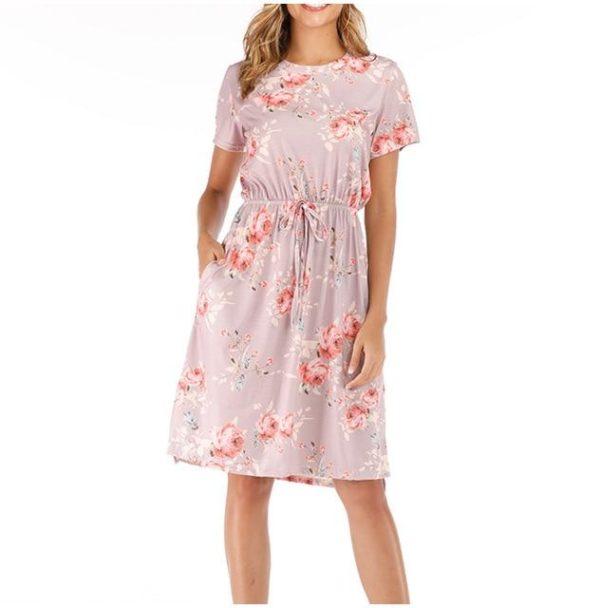 Robe Florale à Manches Courtes Minute Mode Rose XXL