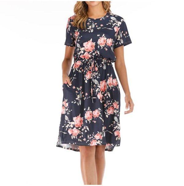 Robe Florale à Manches Courtes Minute Mode Bleu Marine XXL
