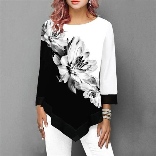 Blouse Florale Sublime Minute Mode Noir S