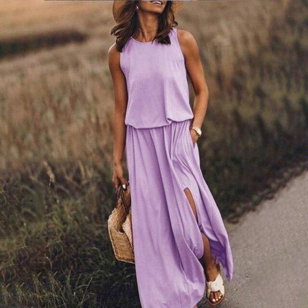 Robe Longue Fendue Minute Mode Light purple S