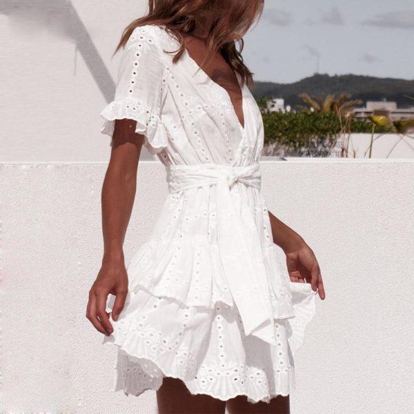 product image 1401158642 Mini Robe Blanche À Volants