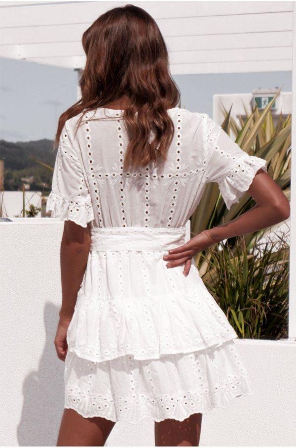 product image 1401158644 Mini Robe Blanche À Volants