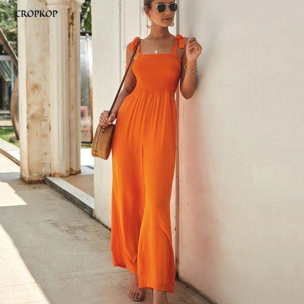 Longue Robe à Manches Nouées Minute Mode Orange S