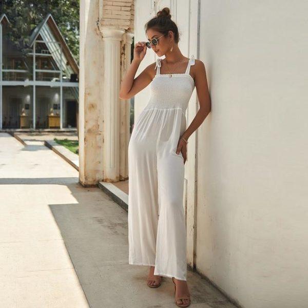 Longue Robe à Manches Nouées Minute Mode Blanc S