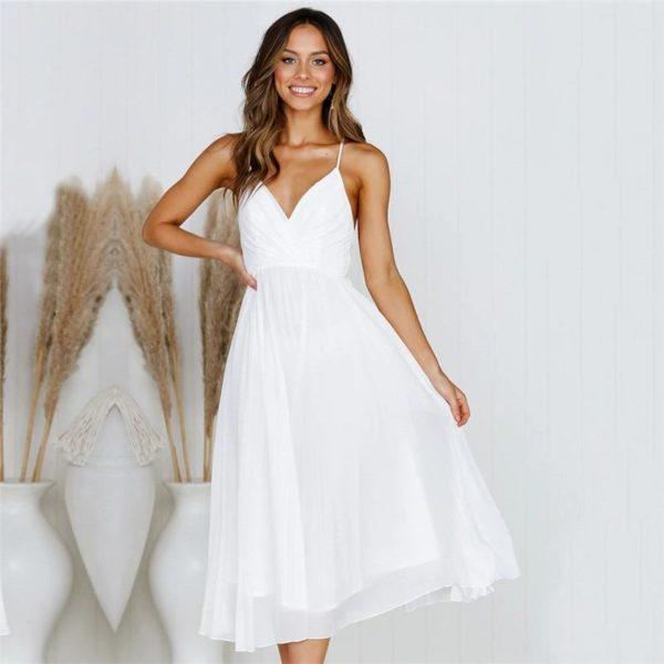 Robe Plissée Élégante Minute Mode Blanc L